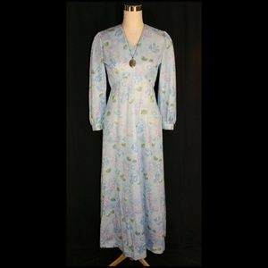 Vintage Floral Print Long Sleeve Maxi Dress